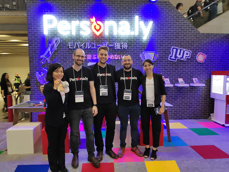 The Persona.ly team.  Persona.ly's booth at Tokyo Game Show, 2018